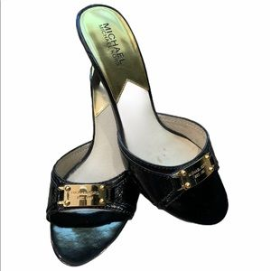 MICHAEL KORS Black Kitten Heel Sandals Slip On